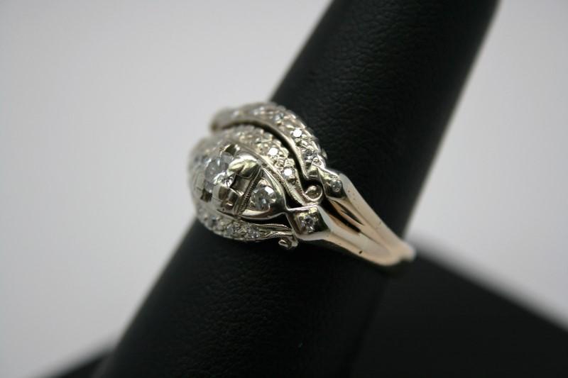 ANTIQUE DIAMOND WEDDING SET 14K 2T GOLD