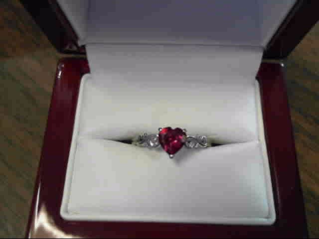 Synthetic Ruby Lady's Stone Ring 10K White Gold 1.2dwt