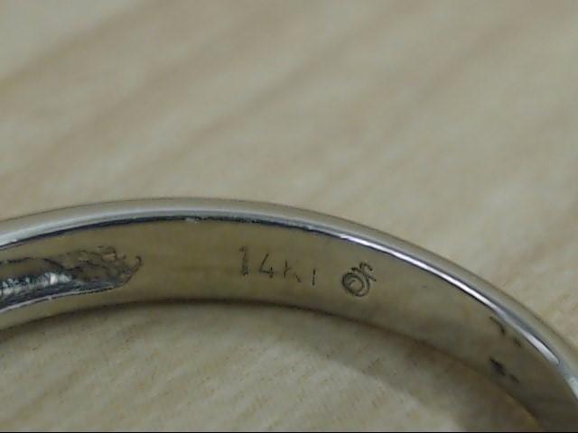ESTATE DIAMOND BAR SET ANNIVERSARY WED RING 14K WHITE GOLD SZ 6.25
