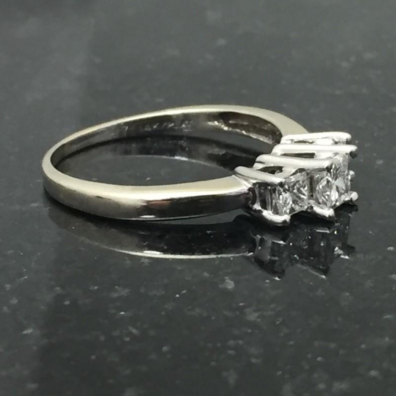 Lady's Diamond Cluster Ring 3 Diamonds .55 Carat T.W. 14K White Gold 1.6dwt