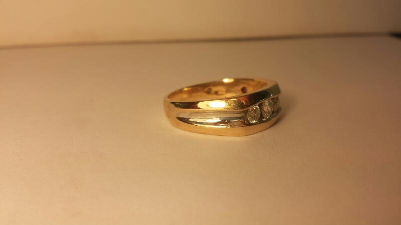 Gent's Wedding Band 3 Diamonds .50 Carat T.W. 14K Yellow Gold