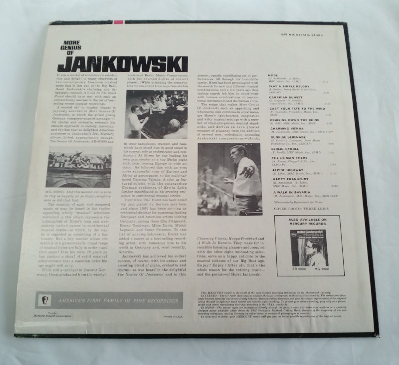 MERCURY RECORDS MORE GENIUS OF JANKOWSKI VINYL