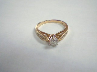 Lady's Diamond Solitaire Ring 9 Diamonds .41 Carat T.W. 14K Yellow Gold 3g
