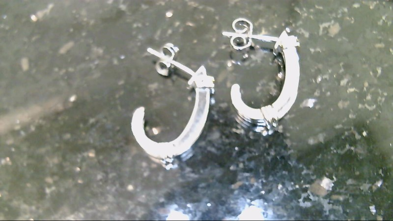 10K 2 Tone Diamond Half Hoop Earrings
