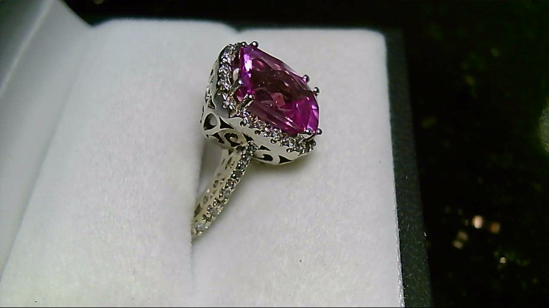 Synthetic Pink Sapphire Lady's Stone & Diamond Ring 28 Diamonds .28 Carat T.W.