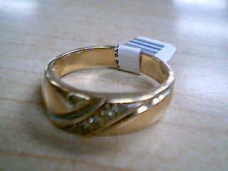 Gent's Gold-Diamond Wedding Band 5 Diamonds .10 Carat T.W. 10K Yellow Gold 6.4g