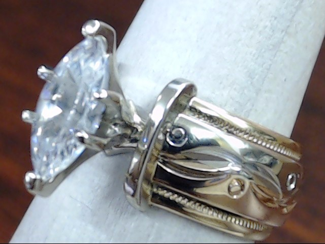 VINTAGE MARQUISE CZ TRI COLOR WEDDING ENGAGE RING BAND 14K GOLD SZ 5