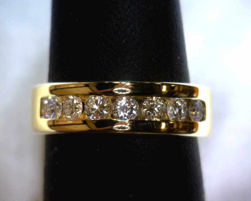 Gent's Diamond Fashion Ring 7 Diamonds .49 Carat T.W. 14K Yellow Gold 5.1dwt