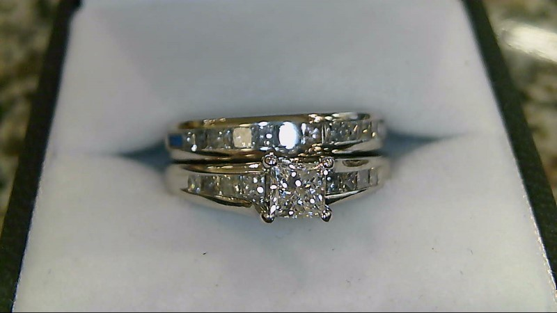 Lady's Diamond Wedding Set 23 Diamonds 1.38 Carat T.W. 14K White Gold 8.8g