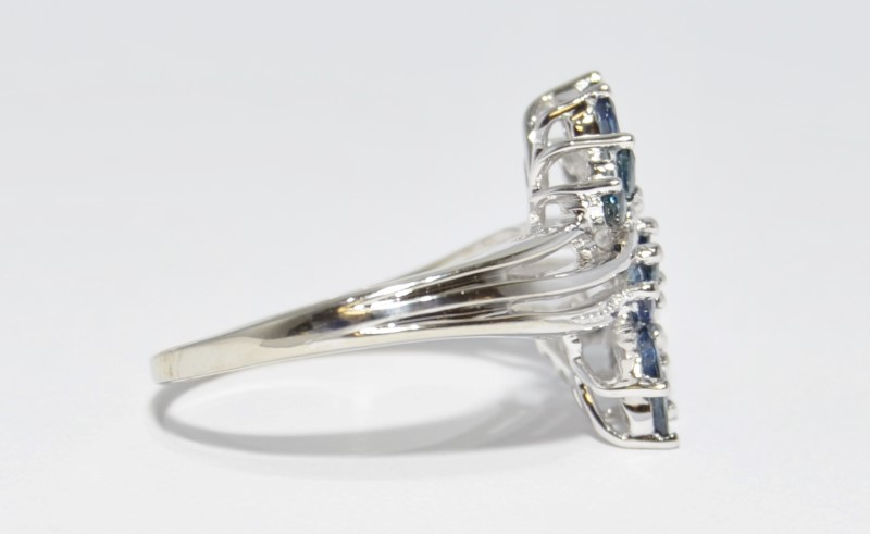 10K White Gold Marquise Sapphire & Diamond Floral Leaves Twist Ring Size 10