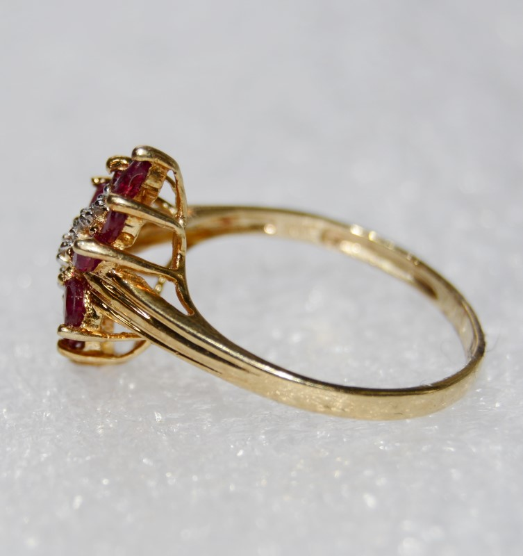 10K Yellow Gold Cathedral Set Marquise Ruby & Diamond Burst Ring s 8