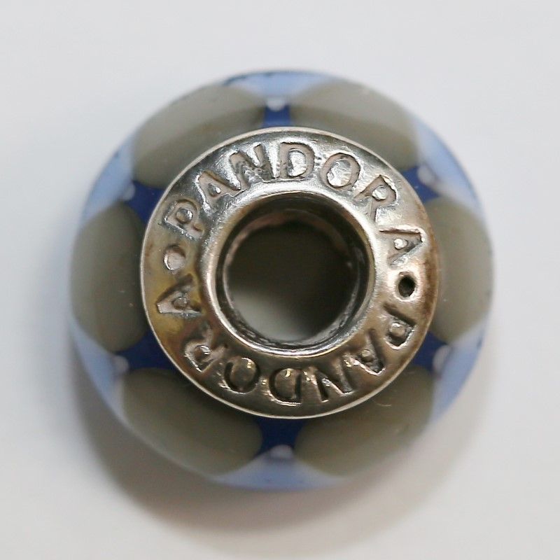 Pandora Blue & Grey Murano Glass Sterling Silver Ale Charm
