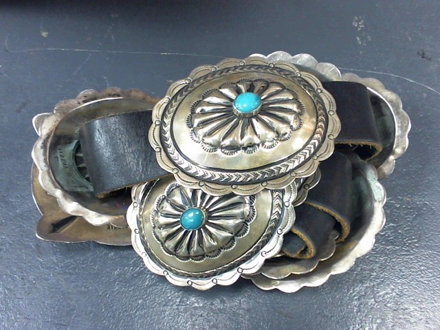 Turquoise Silver-Stone Belt Buckle 925 Silver 402.4g