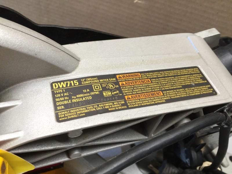 "DEWALT DW715 15amp 12"" Heavy-Duty Single-Bevel Compound Miter Saw"