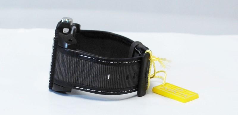 Invicta Men's 1466 Cuadro Chronograph Black Dial Grey Nylon With Black Leather B