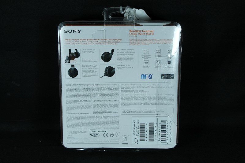 Sony Bluetooth NFC Wireless or Wired Headphones DR-BTN200M White