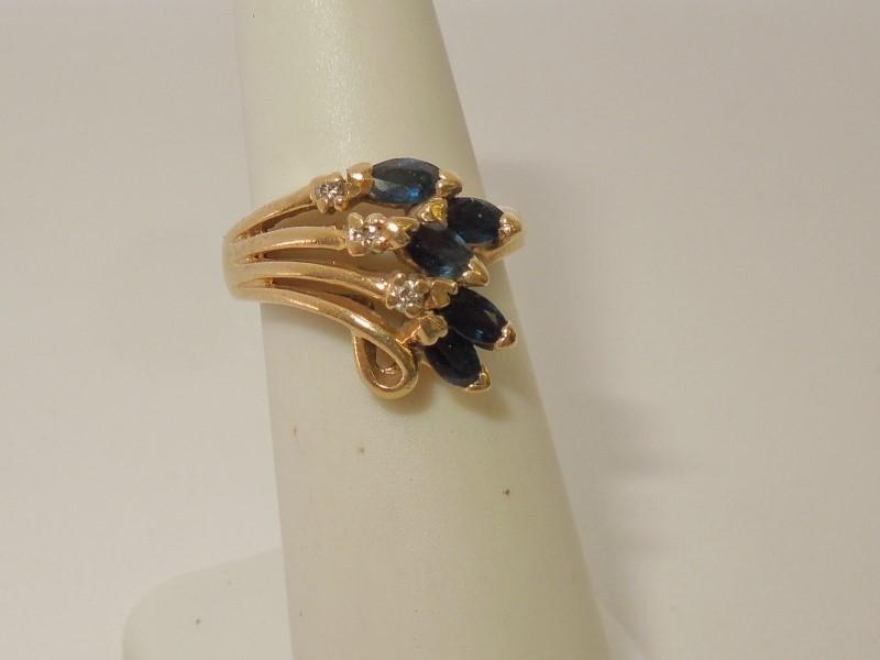 Synthetic Sapphire Lady's Stone & Diamond Ring 3 Diamonds .03 Carat T.W.