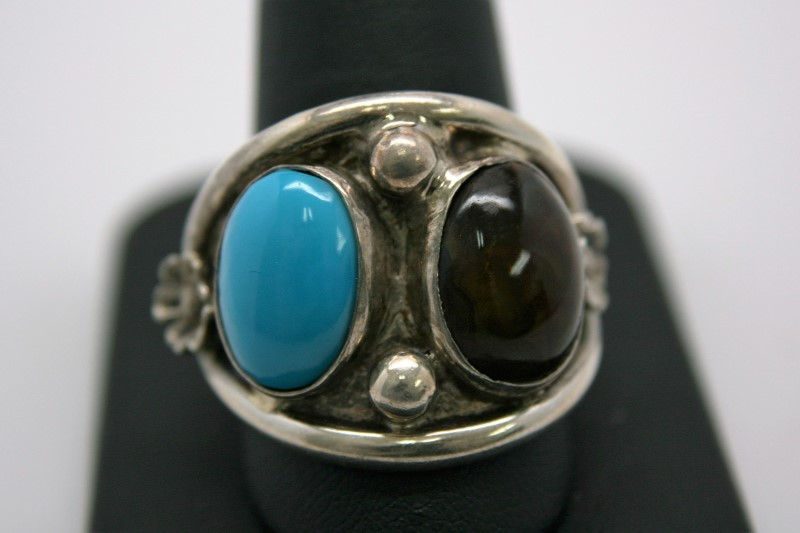 TURQUOISE & FIRE AGATE SILVER RING 13