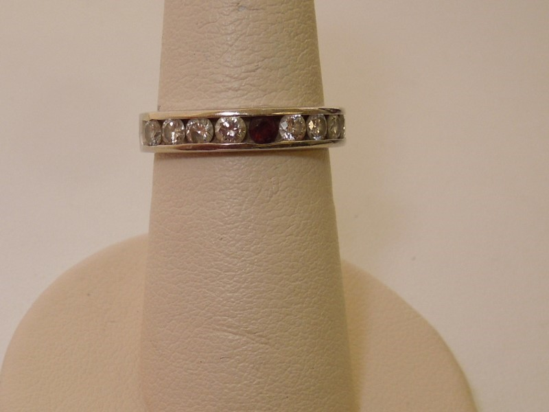 Synthetic Ruby Lady's Stone & Diamond Ring 8 Diamonds .80 Carat T.W.