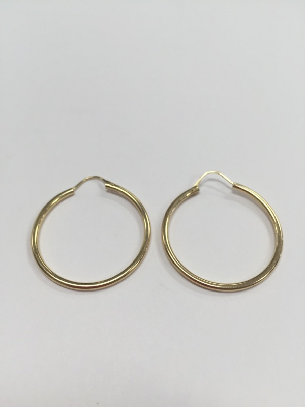 "1"" 14K YELLOW GOLD EARRINGS, GOOD CONDITION, FREE SHIPPING"