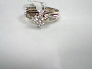 Lady's Diamond Wedding Set 9 Diamonds .54 Carat T.W. 14K White Gold 6.4g Size:5