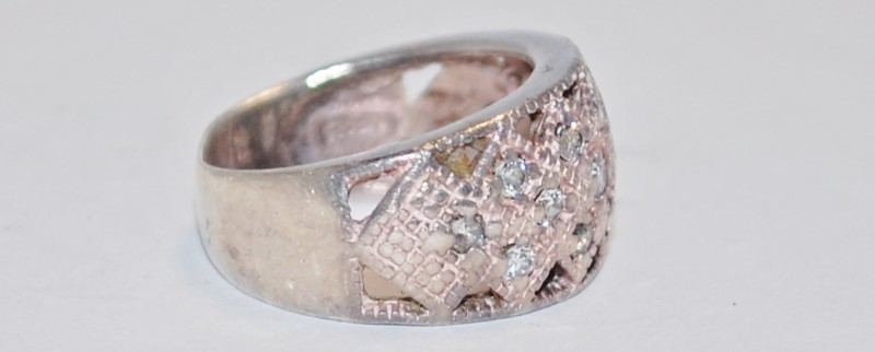 Women's Sterling Silver & CZ Lattice Style Ring Size