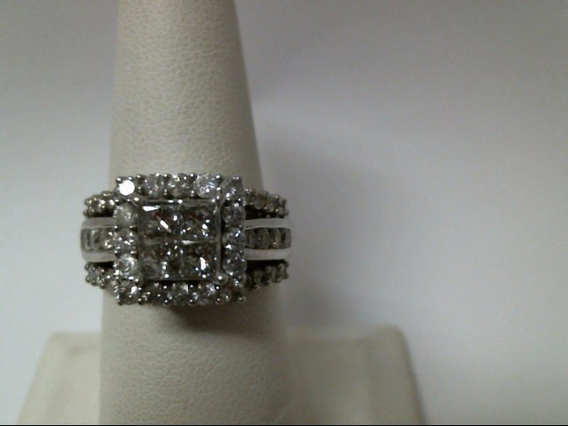 Lady's Diamond Engagement Ring 54 Diamonds 1.84 Carat T.W. 14K White Gold 9.7g