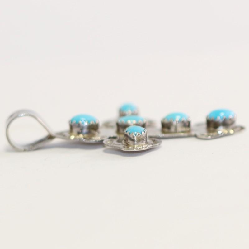 Turquoise Silver Cross Pendant .925 5g