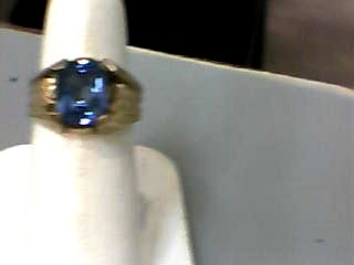 Synthetic Blue Topaz Gent's Stone Ring 10K Yellow Gold 2.6dwt Size:7