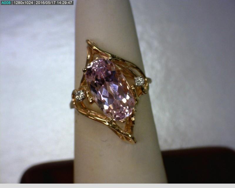 Pink Stone Lady's Stone & Diamond Ring 2 Diamonds .04 Carat T.W.
