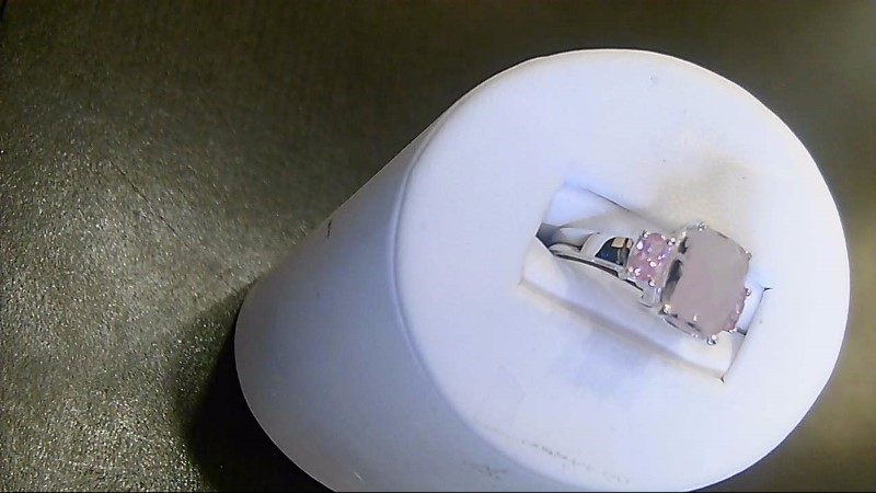 Pink Stone Lady's Silver & Stone Ring 925 Silver 3.5g