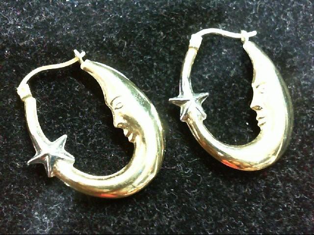 Gold Earrings 10K 2 Tone Gold 1.6g