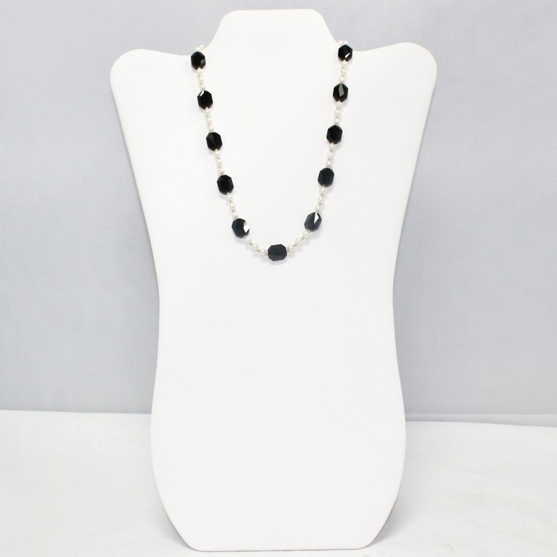 """17"""" 14K Yellow Gold, Black Stone and Pearl Necklace"""