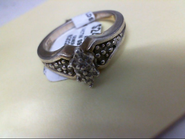 Lady's Silver-Diamond Ring 14 Diamonds .14 Carat T.W. 925 Silver 4.3g
