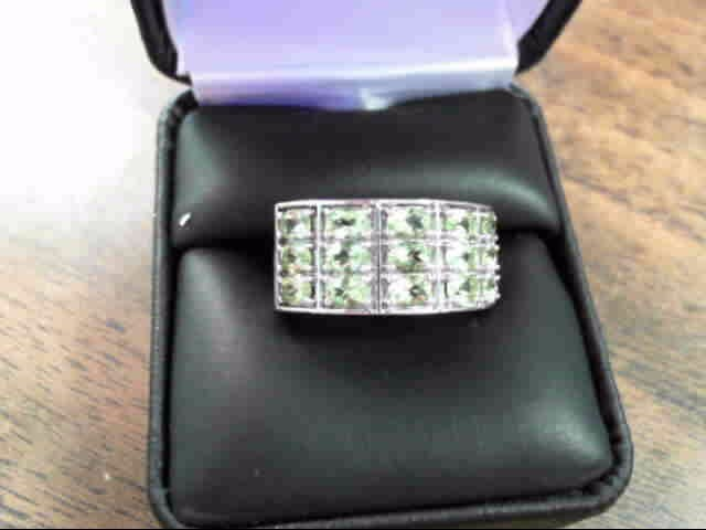 Synthetic Green Sapphire Lady's Silver & Stone Ring 925 Silver 4.1dwt