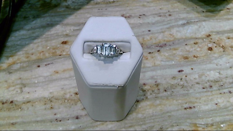 Aquamarine Lady's Stone & Diamond Ring 4 Diamonds .04 Carat T.W. 14K White Gold