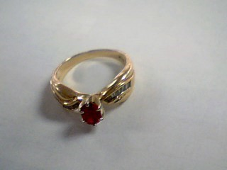 Red Stone Lady's Stone & Diamond Ring 16 Diamonds .32 Carat T.W.