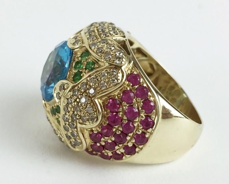 Topaz Emerald Ruby & Dia Ring  90 Diamonds .90 Carat T.W. 14K Yellow Gold 14.73g