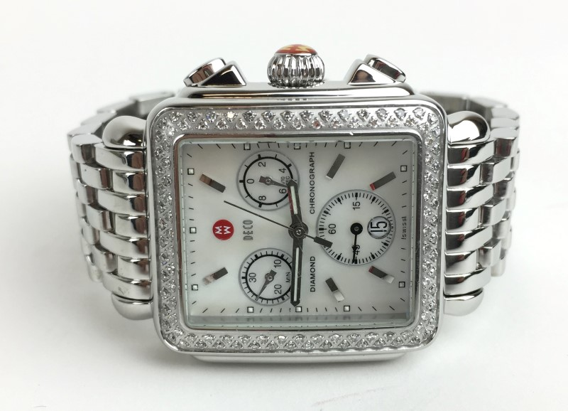LADIES MICHELE MW06A01 DECO DIAMOND WATC WITH MOTHER OF PEARL DIAL