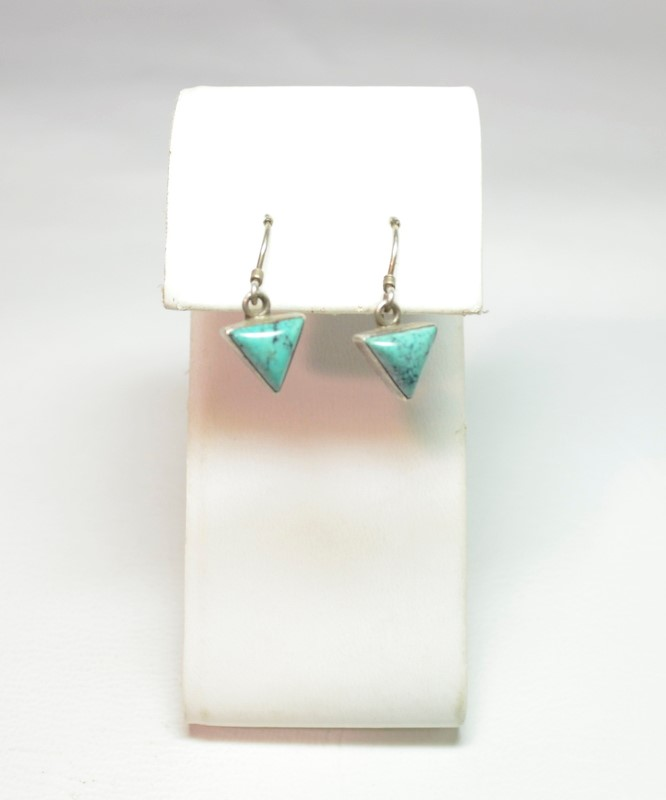 Synthetic Turquoise Silver-Stone Earrings 925 Silver 1.9g