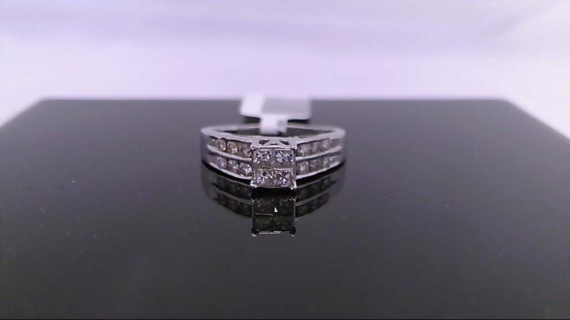 white gold princess cut and round diamond ring