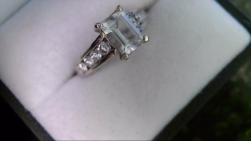White Sapphire Emerald Cut with Diamond Accent Lady's White Gold Ring