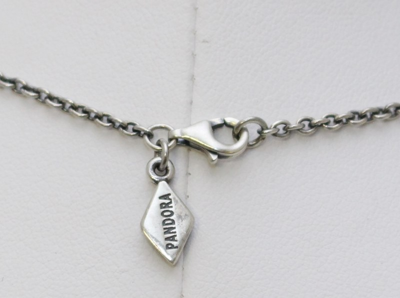 Retired Pandora 925 & 14K Gold Black Pearl & Diamond Lariat Necklace 390213DP-45