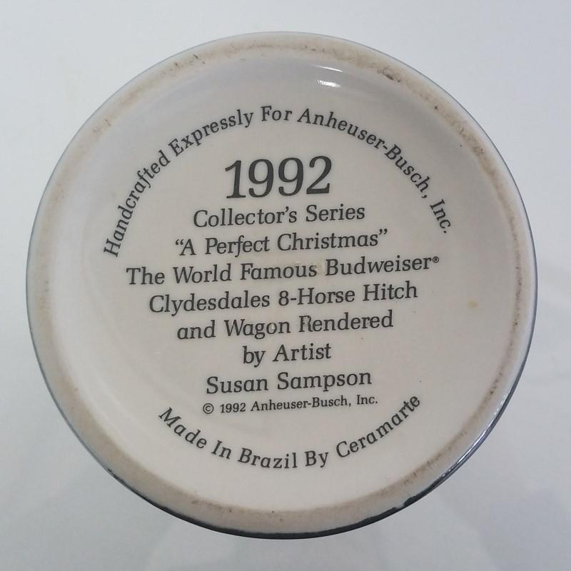 BUDWEISER 1992 HOLIDAY STEIN