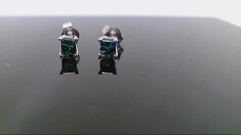 White gold blue diamond earrings