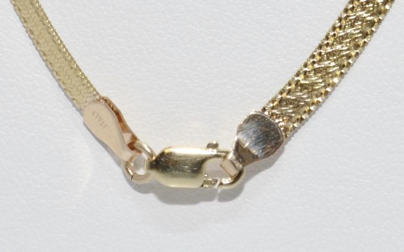10K Two Tone Yellow & White Gold Reversible Italian Herringbone Chain Necklace