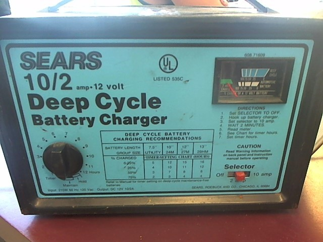 SEARS BATTERY CHARGER DEEP CYCLE10 AMP BATTERY CHARGER
