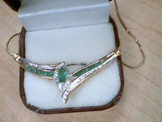 Emerald Diamond & Stone Necklace 52 Diamonds .52 Carat T.W. 10K Yellow Gold