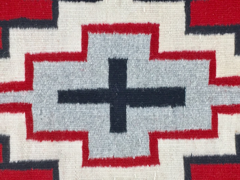 AMERICAN SOUTHWESTERN HAND MADE RUG. BLACK, GRAY, RED & WHITE 34X25""