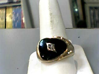Synthetic Onyx Gent's Stone Ring 10K Yellow Gold 4.6dwt Size:11